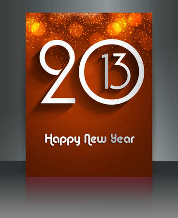 2013 new year celebration reflection colorful brochure card illustration Stock Vector - 17945865