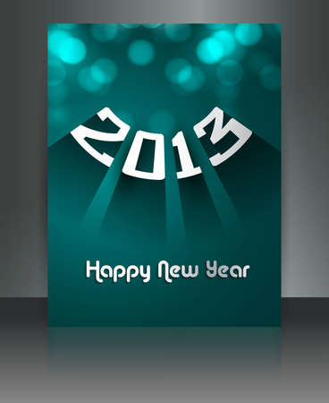 2013 new year celebration reflection colorful brochure illustration  Stock Vector - 17945866