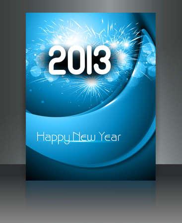 twenty thirteen: 2013 new year celebration blue wave colorful brochure card design