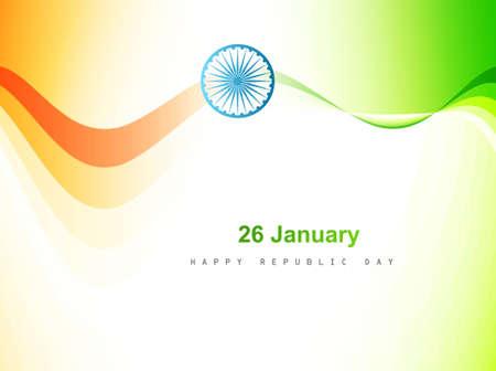 agosto: Bandiera indiana colore onda art design sfondo vettoriale
