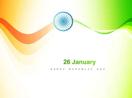 republic day:  Indian flag color wave design art background vector Illustration