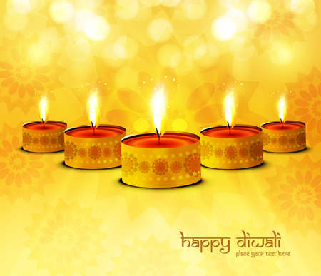 Happy diwali diya celebration bright colorful background Vector
