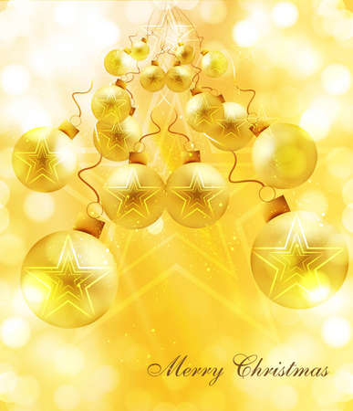 merry christmas Background with shiny colorful balls vector Stock Vector - 17945961
