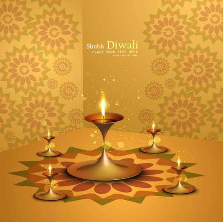 Happy diwali beautiful illuminating Diya background Stock Vector - 17946047