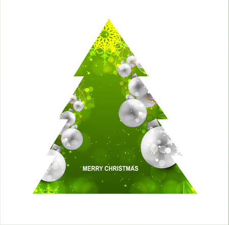 merry christmas green tree ball colorful whit background Vector