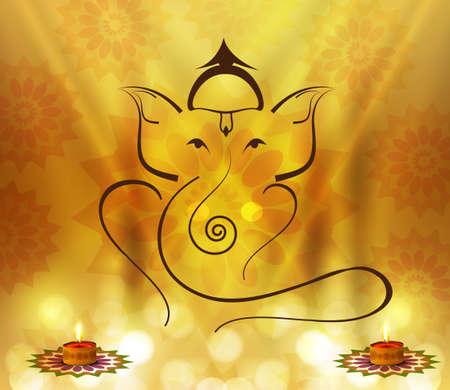 Hermosa artístico colorido hindú Ganesha diseño