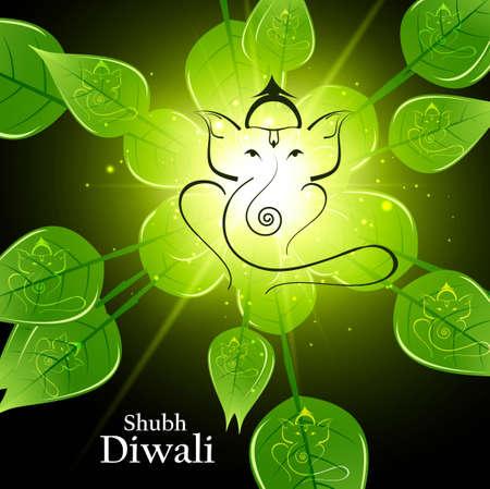 Beautiful artistic bright green lives colorful Hindu Lord Ganesha vector background Illustration