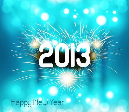 Happy new year 2013 shiny blue colorful celebration