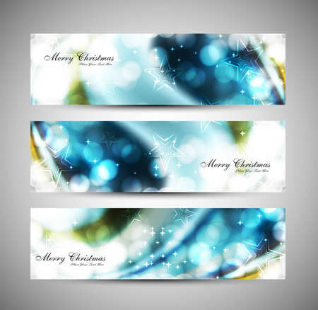 happy new year text: merry christmas celebration blue header set vector