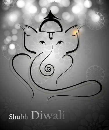 shubh diwali: Beautiful Artistic gray colorful Hindu Lord Ganesha vector design