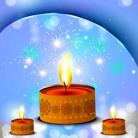 Happy diwali diya blue celebration bright colorful background Stock Vector - 18000416