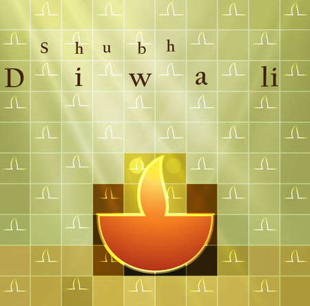 happy diwali card colorful vector background illustration Vector