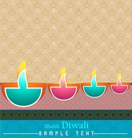 happy diwali card colorful vector background  Vector