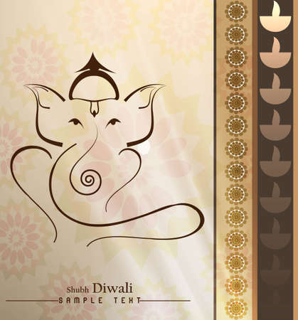 아름다운 예술 화려한 힌두교 님 코끼리 인사말 카드 벡터 스톡 콘텐츠 - 18000386