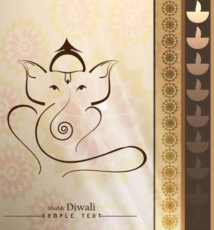 lord ganesha: Hermosa art�stico colorido hind� Ganesha vector tarjeta de felicitaci�n Vectores