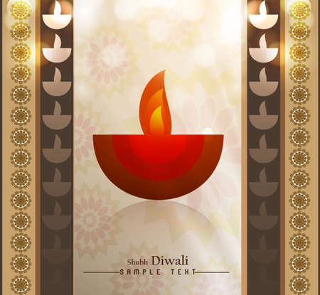 happy diwali diya colorful greeting card vector design Vector
