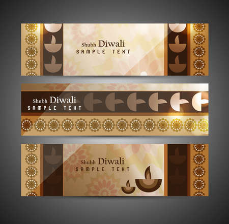 happy diwali stylish set of headers card colorful background vector Vector
