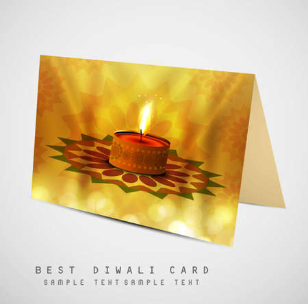 happy diwali diya greeting card colorful vector design Vector