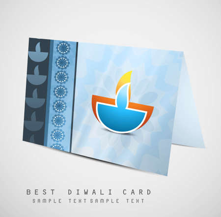 happy diwali diya greeting card fantastic colorful vector design Stock Vector - 18000390