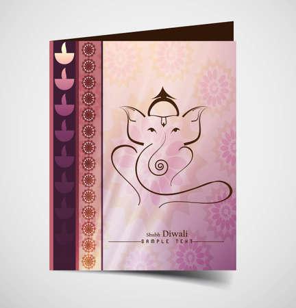 lord ganesha: Hind� Ganesha tarjeta de felicitaci�n hermosa vector colorido fondo de la pizca Vectores
