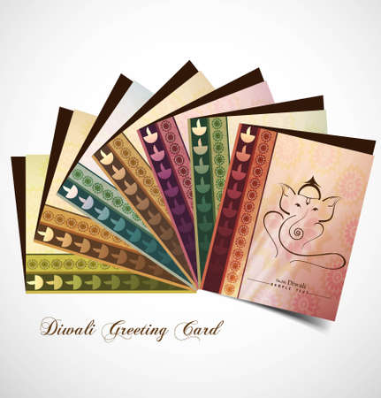 Hindu Lord Ganesha presentation greeting card beautiful colorful vector whit background Vector