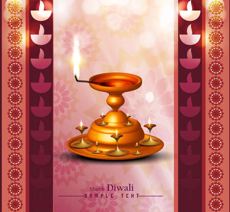 happy diwali diya card colorful vector background illustration Vector