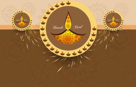 happy diwali greeting card stylish celebration circle colorful background vector Stock Vector - 18000437