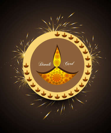 happy diwali greeting card celebration circle colorful vector Stock Vector - 18000407