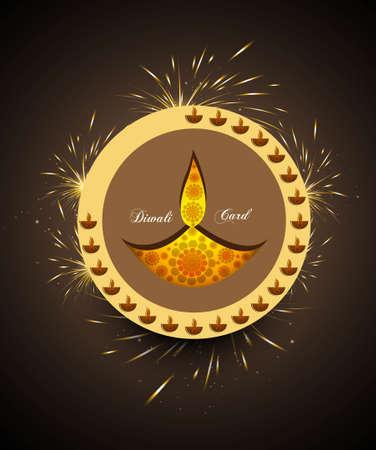 happy diwali greeting card celebration circle colorful vector Stock Vector - 18000407