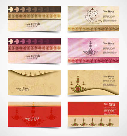 business card set collection happy diwali colorful presentation vector  Vector