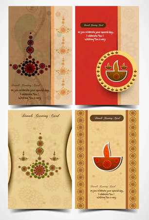 diya: happy diwali card collection artistic presentation colorful vector  Illustration