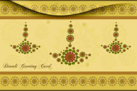 happy diwali card artistic diya colorful vector background  Vector