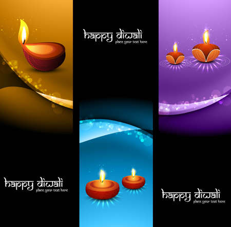happy diwali stylish set of headers colorful background  Vector