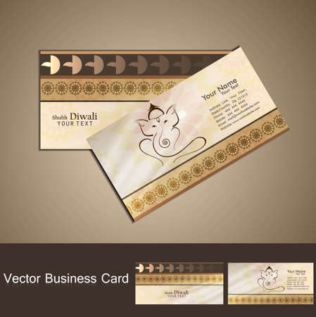 god of wealth: Hindu Lord Ganesha business card beautiful colorful vector