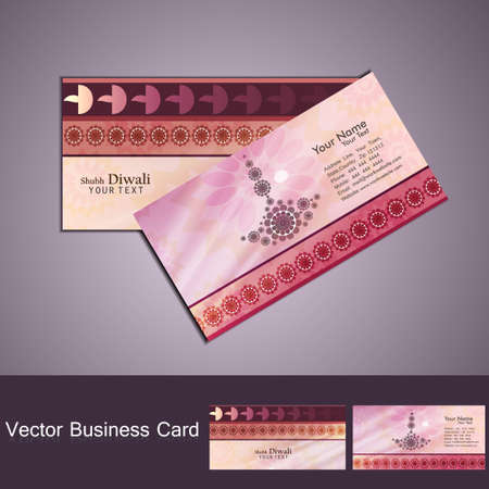 happy diwali business card set colorful vector  Vector