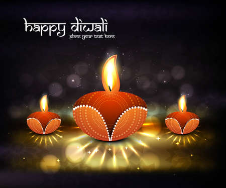 happy diwali beautiful card background Vector