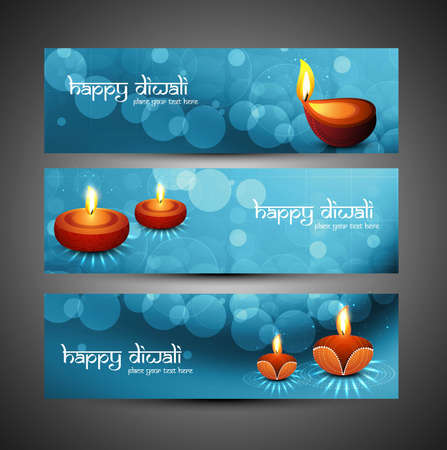 happy diwali stylish blue colorful set of headers vector design Vector