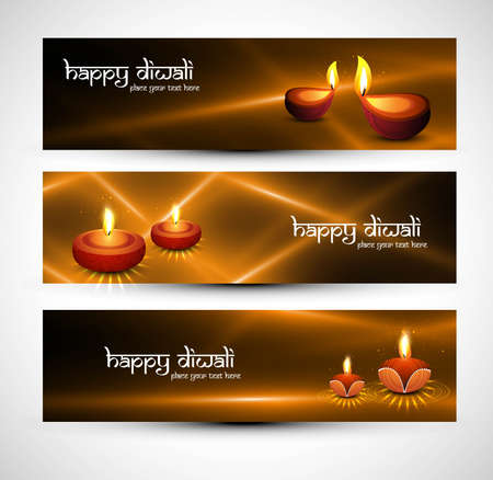 happy diwali stylish colorful set of headers vector  Stock Vector - 18026024