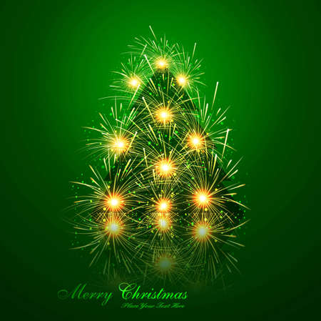 merry christmas tree reflection celebration bright green colorful card vector Vector