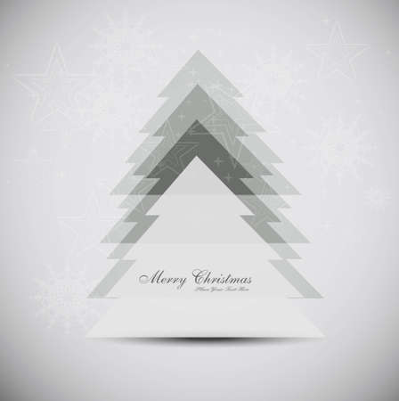 merry christmas tree card background vector Vector