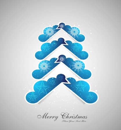 merry christmas stylish tree colorful blue Vector design Vector