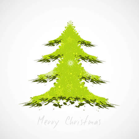 merry christmas tree green colorful card vector Vector