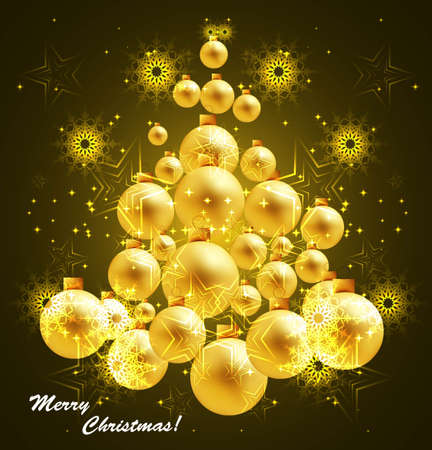 New Year's  merry christmas shiny golden tree ball vector design Stock Vector - 18048915