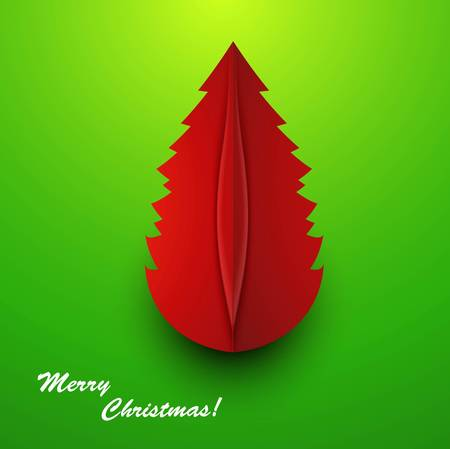 merry christmas red tree bright green colorful background Stock Vector - 18048881