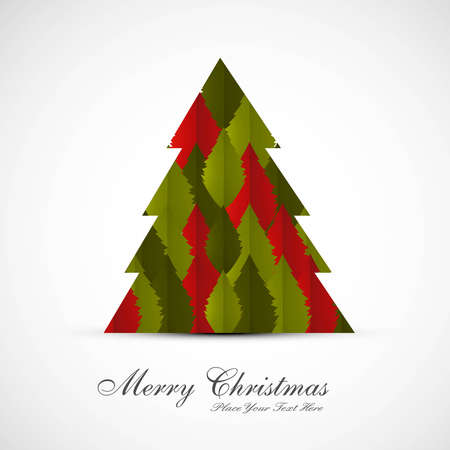 merry christmas card tree colorful vector design Vector