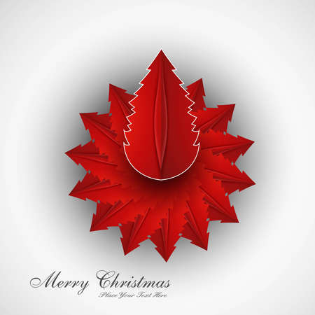 merry christmas card tree colorful vector whit background Vector