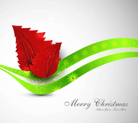merry christmas tree colorful green wave vector design Vector