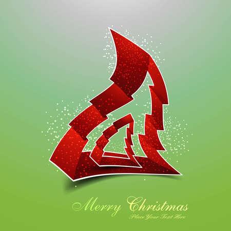merry christmas stylish shape tree colorful design Stock Vector - 18048923