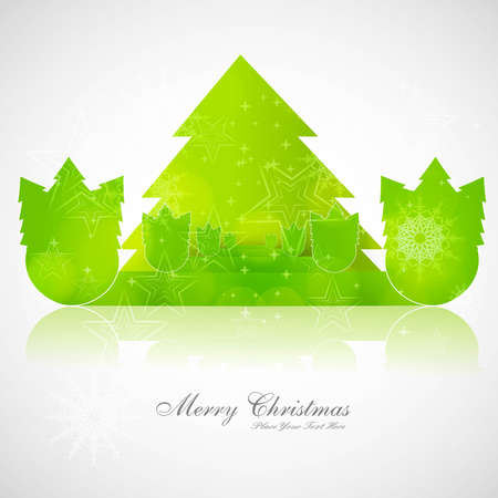 merry christmas card tree green colorful vector  Vector
