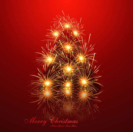 merry christmas tree reflection celebration bright red colorful card vector Stock Vector - 18048865